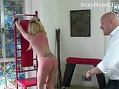 Downcast blonde Samantha Sin is whipped
