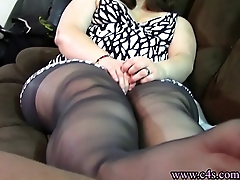 Sheer Black Pantyhose Footjob