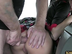 Gorgeous brunette lady receives a messy hot cum from the driver