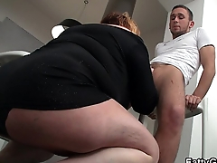 Busty fat ass plumper is banged on the floor