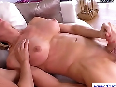 Shemale pussyfucking before jerking cock