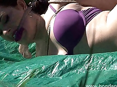 Outdoor subjection and cloth gagging of dominated submissive Caroline Drill in pla