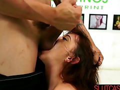 Brunette gets her dirty pussy filled by a Big Learn of