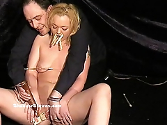 Mousetrapped blonde slaveslut Donna Dennieres pussy tortures and sexual dom