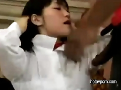 Japanese Schoolgirl in Threesome Interracial unsencored