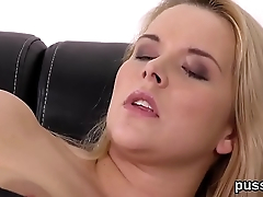 European cutie enjoys funny sex toy and shoves fat dong in quim