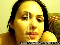 Cute Girl Giving Blowjob and get facial