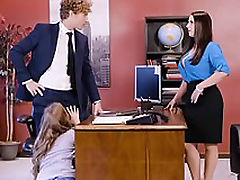 Lena Paul in office threesome with twosome top brass and a sexy employee