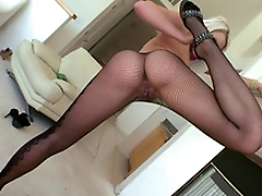 Partner worships nice ass of Anikka Albrite in fishnet pantyhose