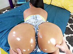 Latina Rose Monroe shows off her oiled big ass