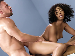Mom Misty Stone gets fucked leaning in the wind
