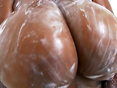 Rachel Raxxx receives her giant knockers all soapy plus wet