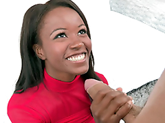 Jezabel Vessir sucked and tit fucked that big white pole