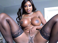Round breasted ebony MILF Diamond Jackson rides him cowgirl style