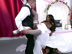 Full-grown ebony bride Diamond Jackson getting fucked on a table