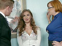 Office threesome is dramatize expunge beat out day at work be expeditious for Lauren Phillips and Lena Paul