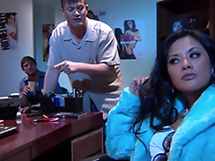Gorgeous Alektra Glum and Kaylani Lei love amazing FFM lovemaking indoors