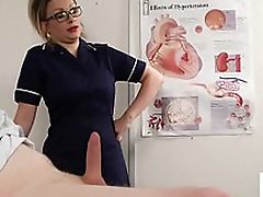 Confident voyeur nurse instructs patient to wank