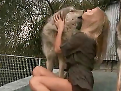 Horny and horny mistress kisses a dog on get under one's verandah of get under one's house