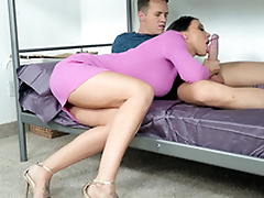 Guy permits friend's mom Rachel Starr to drag inflate his XXX rod on bunk bed