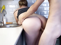 Hot blonde step-sister fucks while washing dishes  4K
