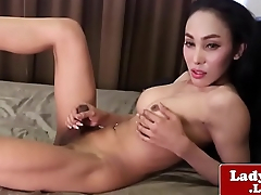Cute Shy Ladyboy Wanks and Cums on Cam - More on Asiacamgirls.co