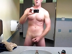 Straight Military Stud Cums In Public Powder-room